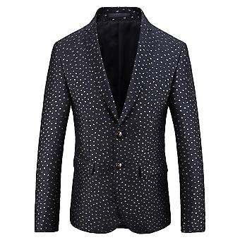 Allthemen Men's Dot Jacquard Slim Fit Dance Banquet Business Casual Blazer
