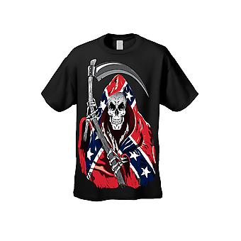 Men's T Shirt Confederate Rebel Flag Grim Reaper Short Sleeve Tee - Logo on Front