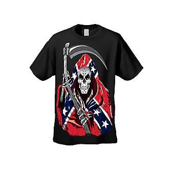 Menn ' s T skjorte konfødererte Rebel Flag Grim Reaper kort ermet tee-logo på forsiden