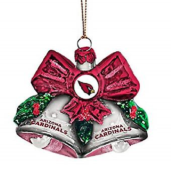 Arizona Cardinals NFL Blown Glass Holiday Bells Ornament