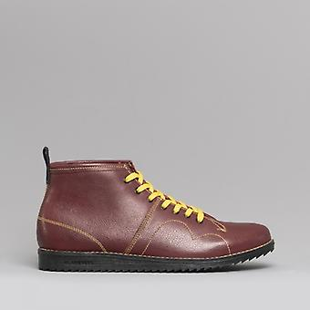 Blakeseys 1960 Unisex Leather Monkey Boots Bordo/yellow