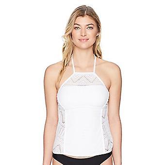 Anne Cole Mujeres's cuello alto Crochet Tankini Swim Top, blanco, tamaño X-grande