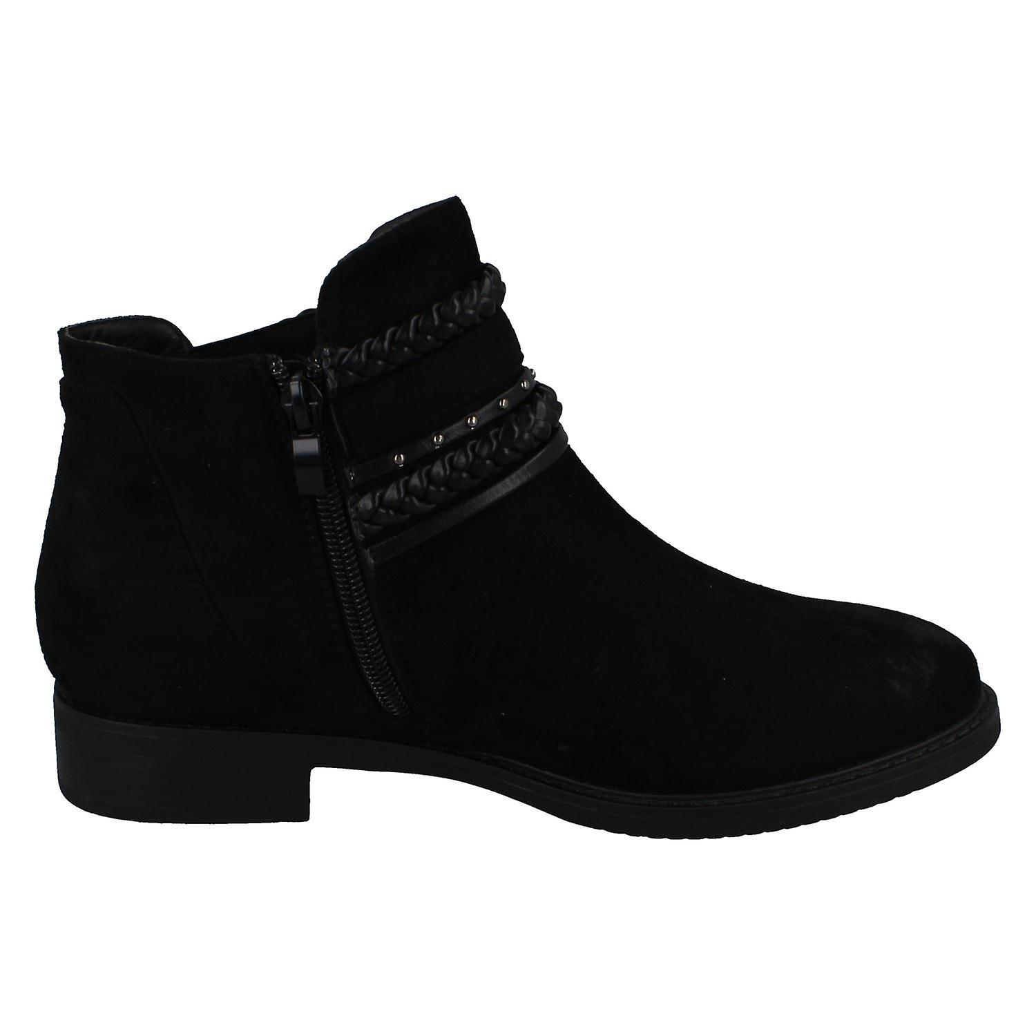 Ladies Spot On Low Heel Ankle Boots F51032