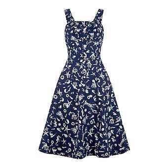Collectif Vintage vrouwen ' s 1950 ' s Seashell print Adele jurk