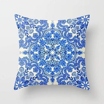 Cobalt blue & china white folk art pattern cushion/pillow