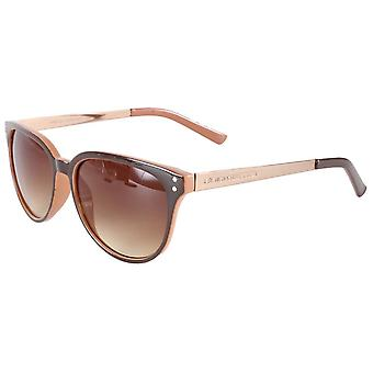 French Connection Small Round Glamour Sunglasses - Brown Tort
