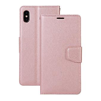 Pour iPhone XS Max Cover,Silk Textd Folio Leather Wallet Phone Case,Rose Gold
