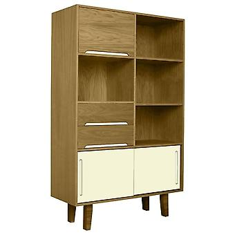 Fusion Living Modern Retro Oak And Vanilla Book Case