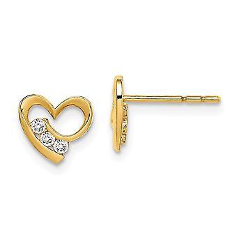 14k Madi K CZ Cubic Zirconia Simulado Diamante Amor Corazón Post Pendientes Mide 7mm de largo joyería regalos para las mujeres