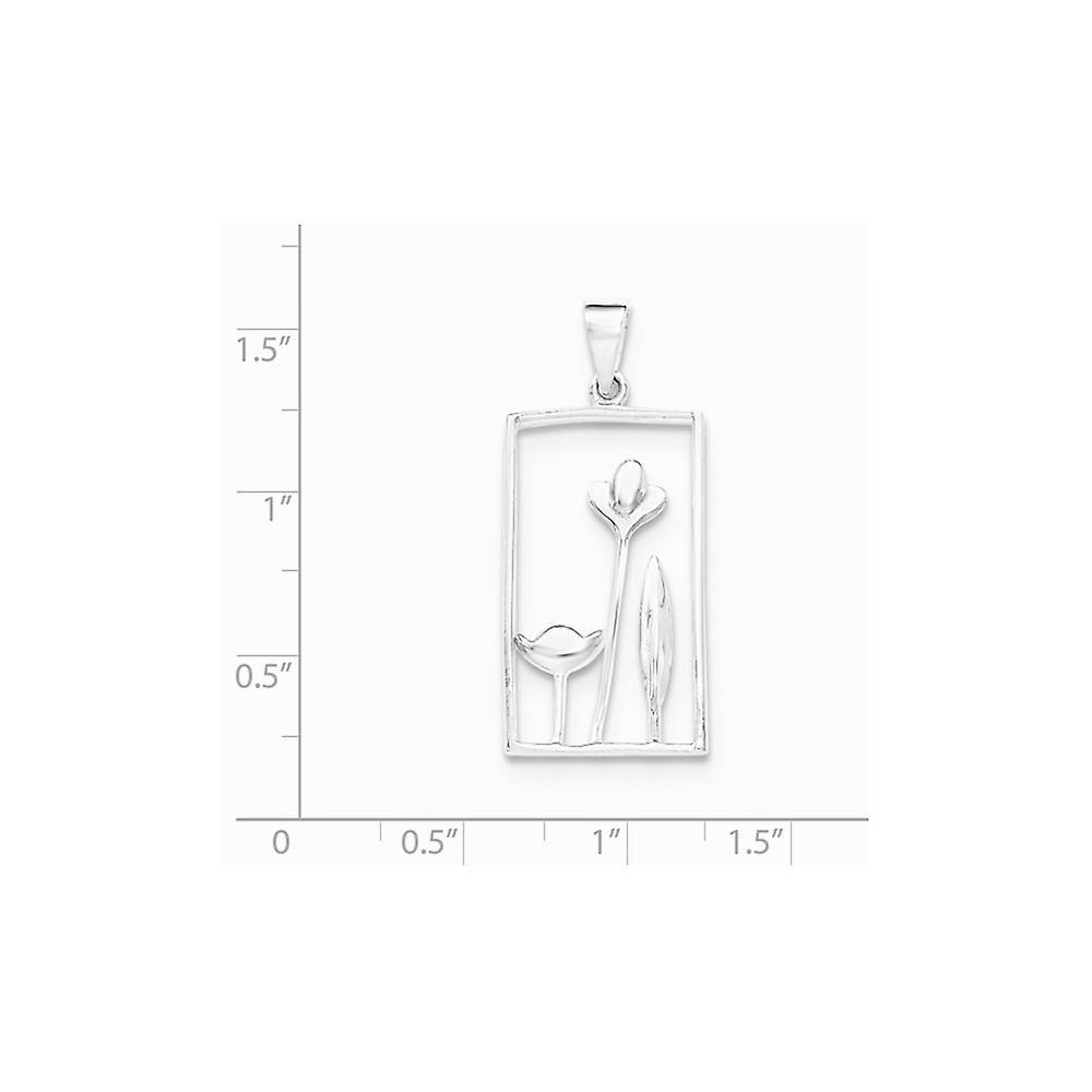 925 Sterling Silber Rechteck Blume Anhänger Halskette Schmuck Geschenke für Frauen