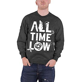All Time Low Christmas Jumper Sweatshirt Band Logo Official Mens New Grey