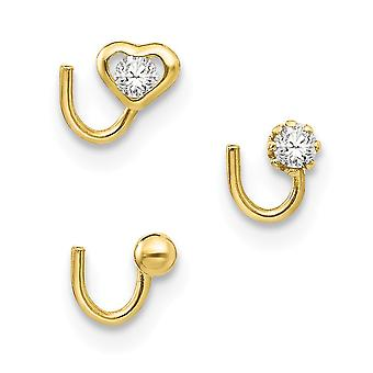 10k Yellow Gold Polished Set Of 3 Nose Studs Jewelry Gifts for Women - .3 Grams