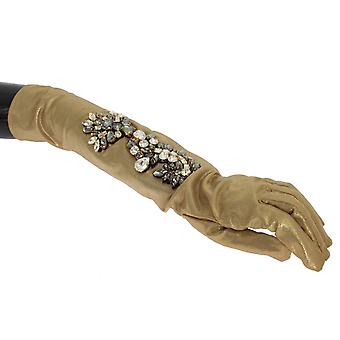 Dolce & Gabbana Gold Floral Crystal Elbow Long Gloves