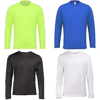 Just Cool Mens Long Sleeve Cool Sports Performance Plain T-Shirt