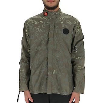 Off-white Ombd015f19a230034300 Men's Green Polyester Outerwear Jacket