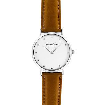 Guarda Andreas Osten AO-18 - Leather Watch Marron Bo di livello mixed silver