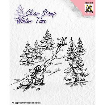 Nellie's Choice Clearstamp - Winter Time sledge fun WT003