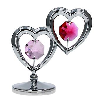 CRYSTOCRAFT Freestanding Twin Hearts Ornament made with Swarovski Crystals