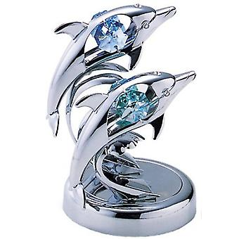 Crystocraft Twin Dolphin Ornament made with Blue & Green Swarovski Elements