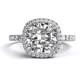 1.9 Carat E SI1 Diamond Engagement Ring 14K White Gold Halo Micro Pave Cushion