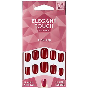 Elegant Touch Perfect Coloured False Nails Collection - Rich Red (24 Nails)
