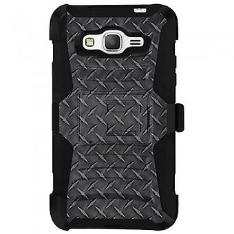 SAMSUNG GALAXY GRAND PRIME SHELL CASE ARMOR KOMBO WITH KICKSTAND - BLACK DIAMOND STEEL