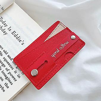 Bakeey universal pu couro empurrar puxão suporte de pulso suporte de pulso suporte de pulso com slots de cartão