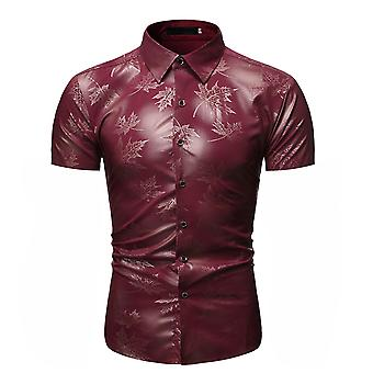 Allthemen Men's Summer Bronzing Leaf Impresso Slim-Fit Camisa Curta