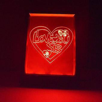 I Love You SIS Heart Colour Changing RC LED Mirror Light Frame