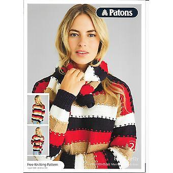 Patons Knitting Pattern - Merino Aran - Multi Coloured Sweater & Scarf