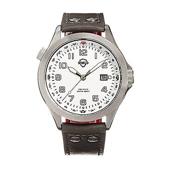 Shield Palau Leather-Band Men's Diver Watch w/Date - Silver/Grey