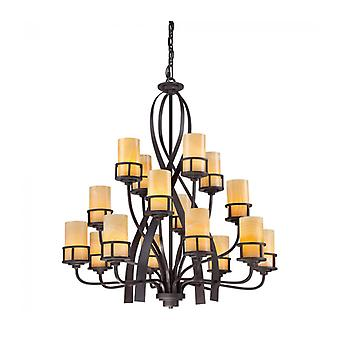 Kyle Pendant Light, Wrought Iron And Onyx, 16 Bulbs
