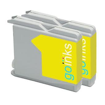 2 Gelbe Tintenpatronen ersetzen Brother LC970Y & LC1000Y Compatible/non-OEM by Go Inks