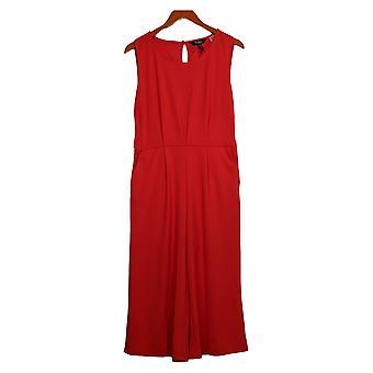 Du Jour Petite Jumpsuits Cropped Wide Leg Knit Tie Waist Red A366248