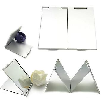 Pocket Mirror Cosmetic - Rectangle Foldable, Silver Makeup Mirrors