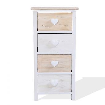 Rebecca Furniture Comodini Lade 4 Witte Laden Licht Hout 69x35x29