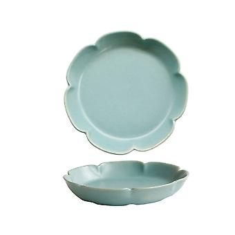 Piastra rotonda in ceramica Retro Opaco Color Piatti Blu