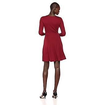 Lark & Ro Naiset&s Kolmen neljänneksen hiha V-kaula Fit ja Flare Dress, Bordeaux, Medium