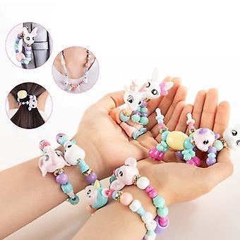 1/5 Pcs Girls Toys Handmade Beads Bracelet Party Bracelets For Kids- Diy Magic Animals Variety Bracelets Necklace Education Gifts