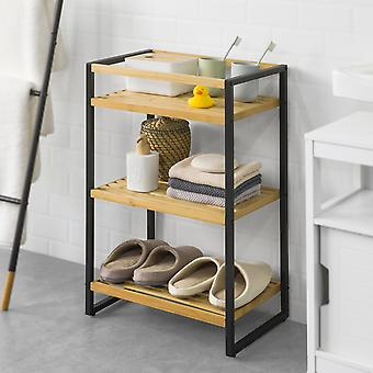 SoBuy STR05-K-N Étagère de rangement Salle de bains Étagère Cuisine Bambou et métal
