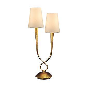 inspirert mantra - paola - bordlampe 2 lys E14, gull malt med krem nyanser