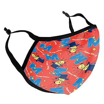 Sooty Magic Hat Red Print Kid's Reusable Fabric Face Mask