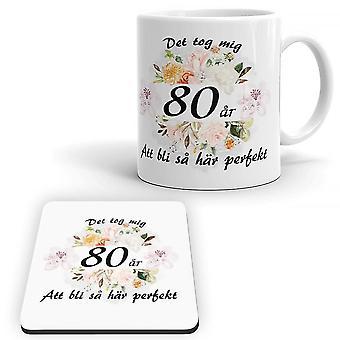 Kubek urodzinowy z lat 80- tych + pakiet Coaster
