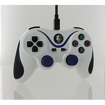 Wired gamepad controller for sony ps3 with extra long 3m cable - white & blue