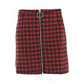 Fearless Illustration Red Plaid Mini Skirt