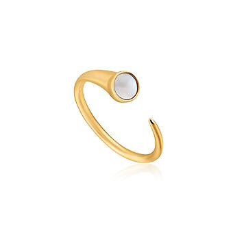 Ania Haie Hidden Gem Shiny Gold Mother Of Pearl Claw Ring R022-02G