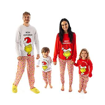 The Grinch Christmas Pyjamas for All The Family | Matching PJ Sets | Mom Dad & Kids Red Grey Grinch T-Shirt & Bottoms Sleepwear Set for Men, Women, Boys & Girls
