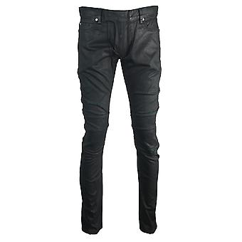 Balmain Skinny Biker Black Coated Worn Effect Jeans