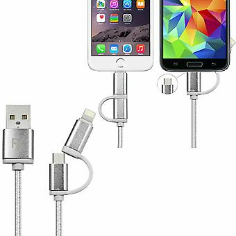 FX Braided 2 in 1 iPhone/Micro USB Cable - 1m - Silver