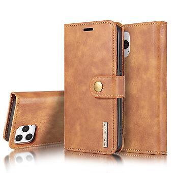 DG.MING iPhone 12 / 12 Pro Split Läder Plånboksfodral - Brun
